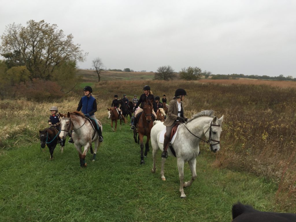 Riders enjoying a TED Ride. TED = Tack, Educate and Dine and is in celebration of the life of Ted Crosbie. His wife Ro hosts the hunt to ride and brunch.